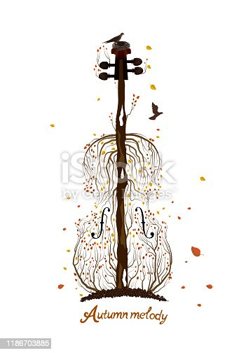 Autumn tree silhouette  looks like violin growing on soil and birds flying away, Autumn melody concept, Autumn music idea, vector