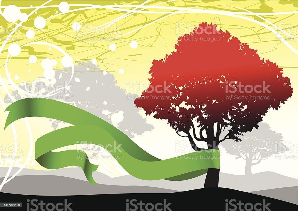 Herbst Baum mit banner Lizenzfreies herbst baum mit banner stock vektor art und mehr bilder von baum
