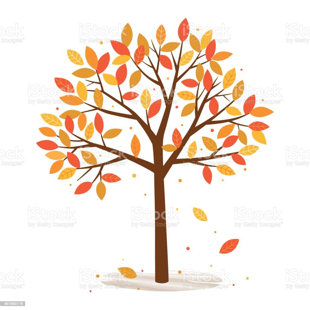 Autumn Tree With Falling Leaves On White Background Stock Illustration Download Image Now Istock