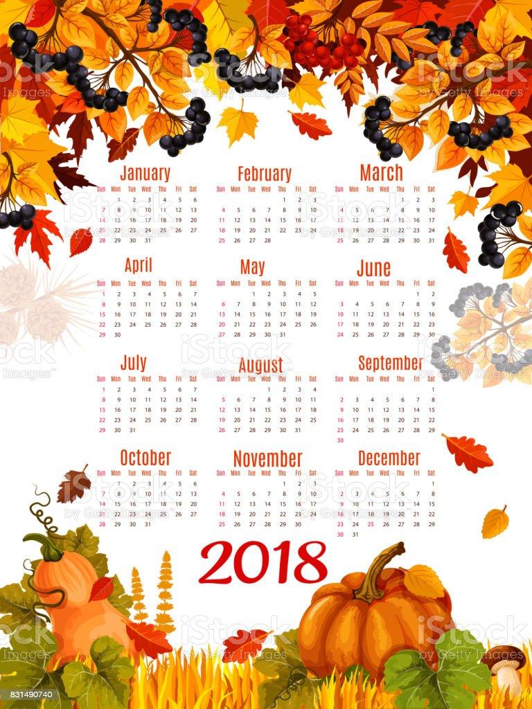 Autumn Vector 2018 Calendar Template Falling Leaf Stock