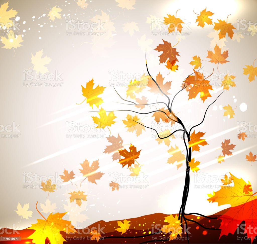 Autumn vector background with a tree and flying leaves royalty-free stock vector art