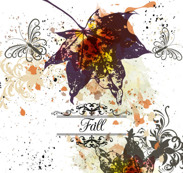 sonbahar vektör arka plan ile akçaağaç yaprakları - start stock illustrations