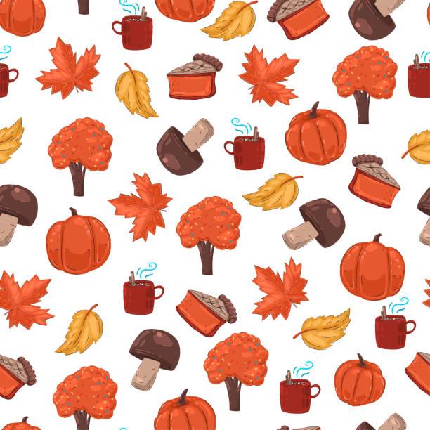 autumn vector cartoon seamless pattern on white background. - pumpkin pie stock illustrations