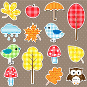 Autumn stickers - trees, leafs, mushrooms and birds