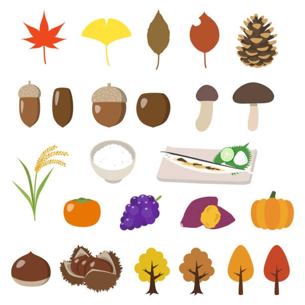 秋 - 松茸点のイラスト素材/クリップアート素材/マンガ素材/アイコン素材