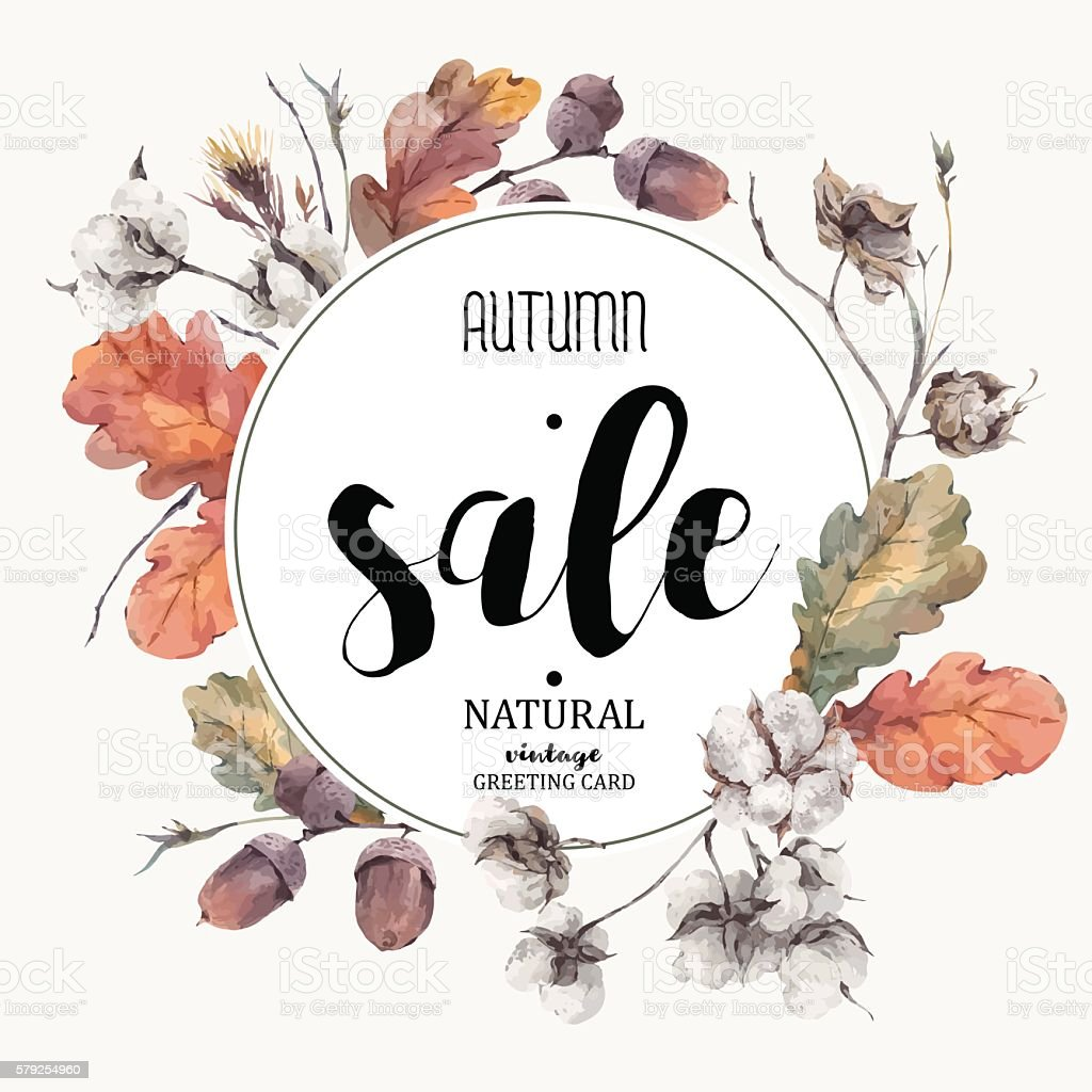 Autumn vector vintage cotton flower, sale card - ilustración de arte vectorial