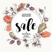 Autumn vector vintage cotton flower, sale card