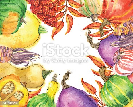istock Autumn Vegetable and Leaf Border with Copy Space 847843282