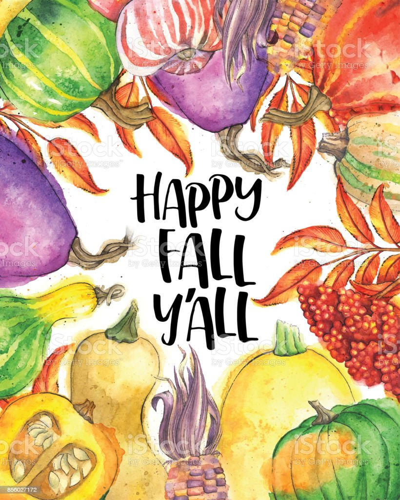 Autumn Vegetable and Leaf Border with 'Happy Fall Y'All' Text vector art illustration