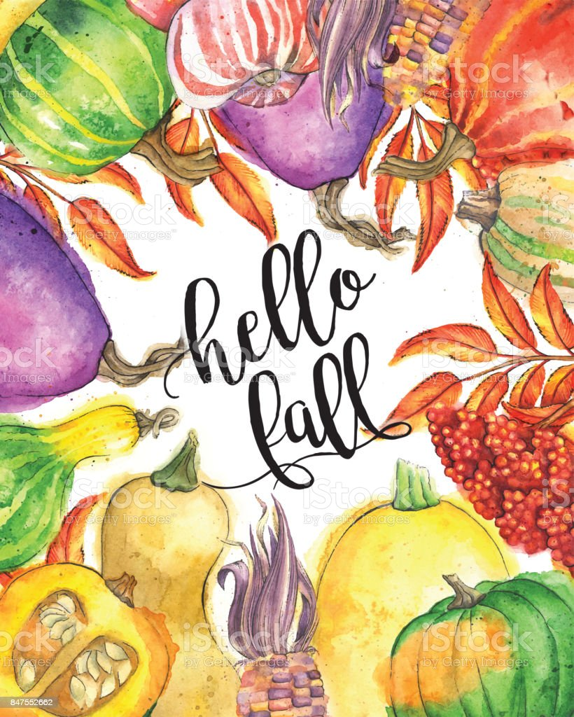 Autumn Vegetable and Leaf Border with 'hello fall' Calligraphic Text vector art illustration