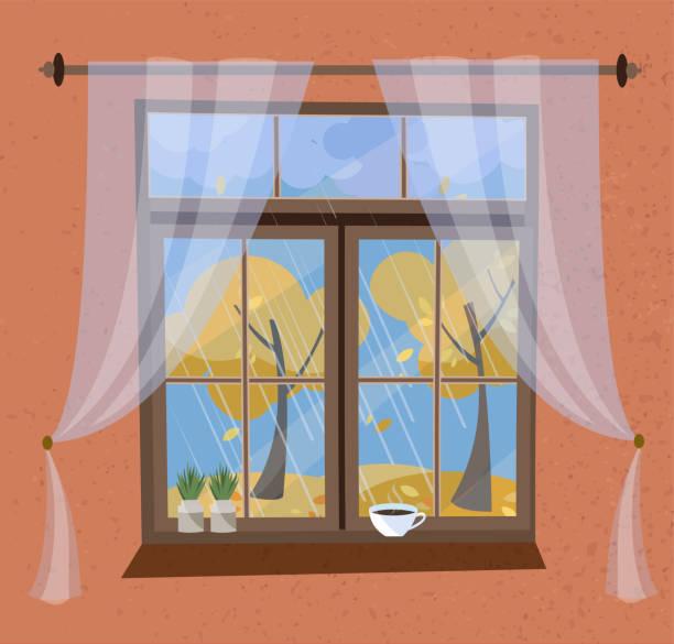 herbstansicht aus dem fenster mit gesims und transparentem tüll. geschlossene holzfensteransicht zum indischen sommer, fliegendes laub, gelbe bäume. auf fensterlpflanzen in töpfen, kaffeetasse. flache cartoon-vektor - gesims stock-grafiken, -clipart, -cartoons und -symbole