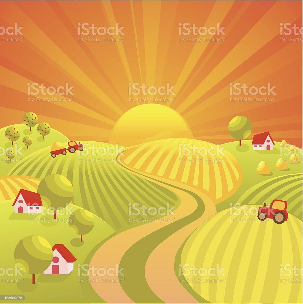Autumn village road vector art illustration