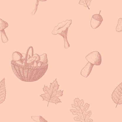 autumn vintage seamless pattern in strokes
