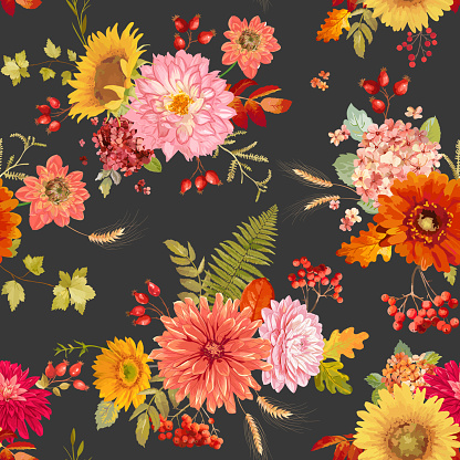 Autumn watercolor flowers seamless background illustration, retro floral vector fall Thanksgiving pattern for holidays, fashion fabric, textile, wallpaper with berries, hydrangea, sunflower, leaves
