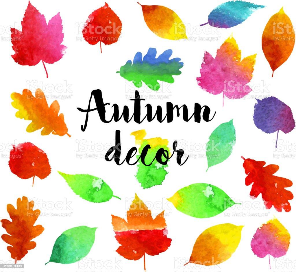 Aquarell Blatter Herbst Stock Vektor Art Und Mehr Bilder Von