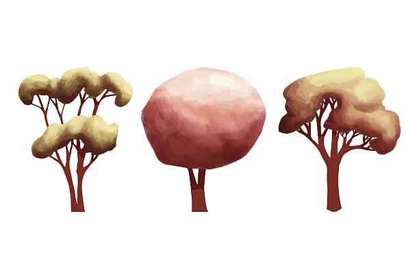 Herbst Aquarell set mit Bäumen. – Vektorgrafik