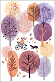 Autumn watercolor background. Vector and watercolor illustration