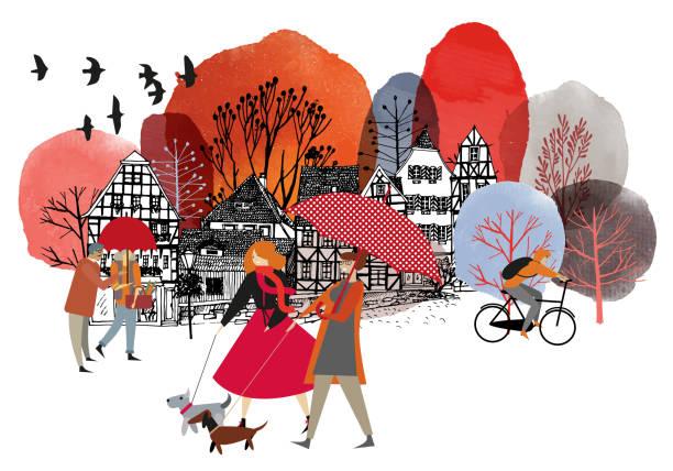 illustrazioni stock, clip art, cartoni animati e icone di tendenza di autumn watercolor vector background - city walking background