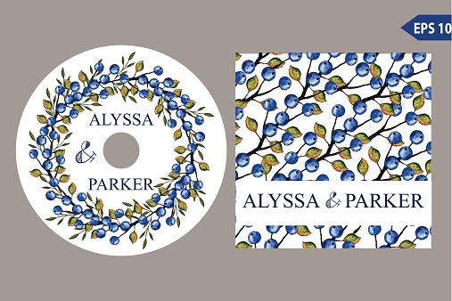 Autumn wedding CD template set.Watercolor leaves wreath