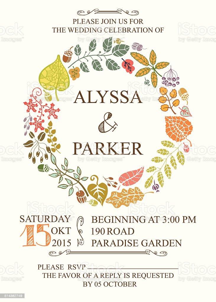 Autumn wedding invitation with leaves wreath vector art illustration