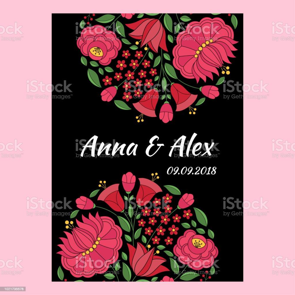 Autumn Wedding Save The Date Card Template Vector Hungarian Folk ...