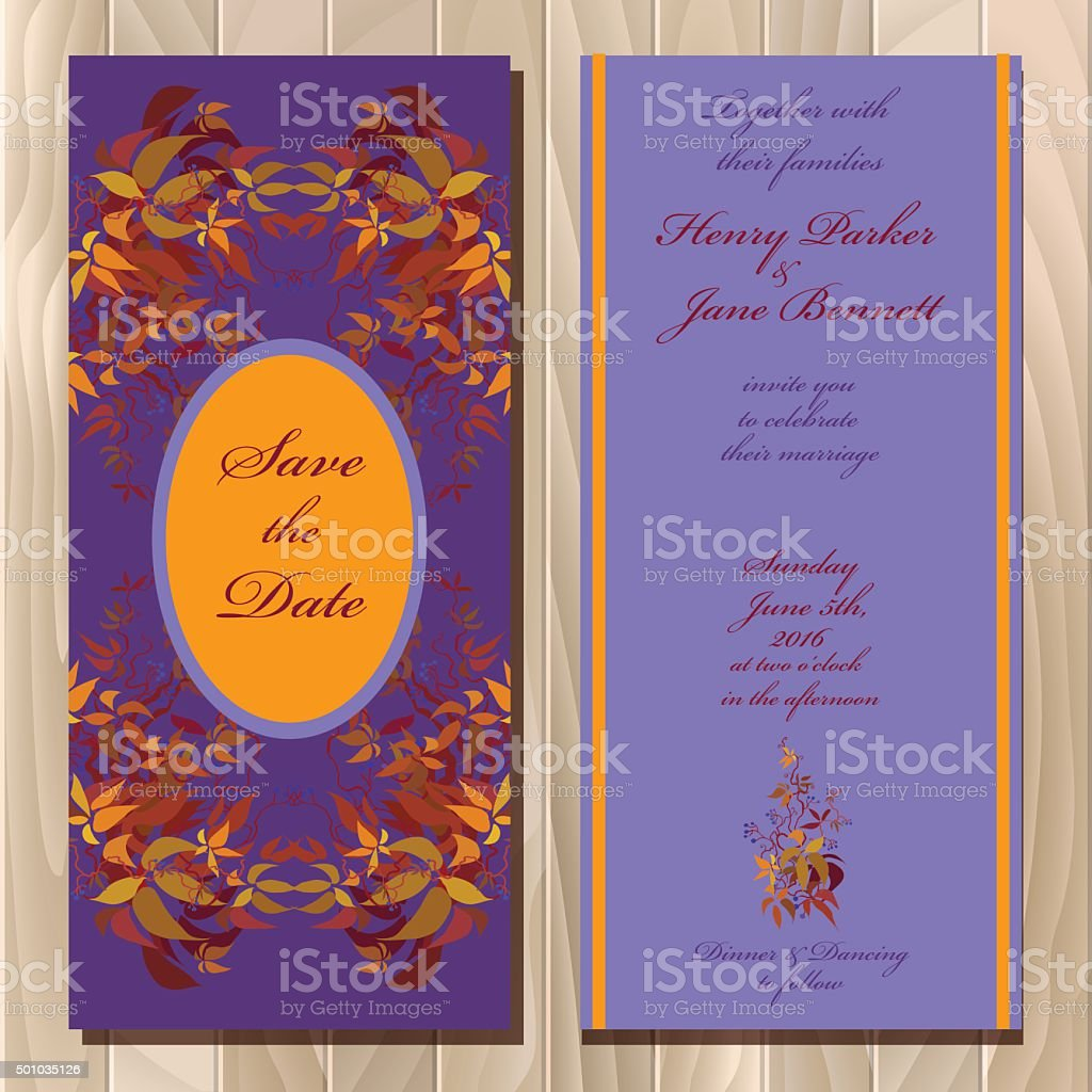 image relating to Printable Invitation Card Stock titled Autumn Wild Grape Marriage ceremony Invitation Card Printable Vector