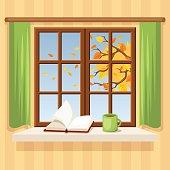 Autumn window. Vector illustration.
