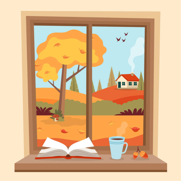 Autumn window with rural view, a book and a coffee cup on the sill. Cute cozy vector illustration in flat style vector art illustration