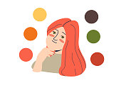 Autumn woman color type: female with palette of best colours for seasonal color analysis. Cartoon girl with red hair and warm colors on white background. Flat vector illustration
