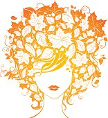 Illustration of woman with leaves in hair for your design