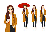 Young beautiful woman with coffee. Autumn outdoor portrait isolated vector illustration