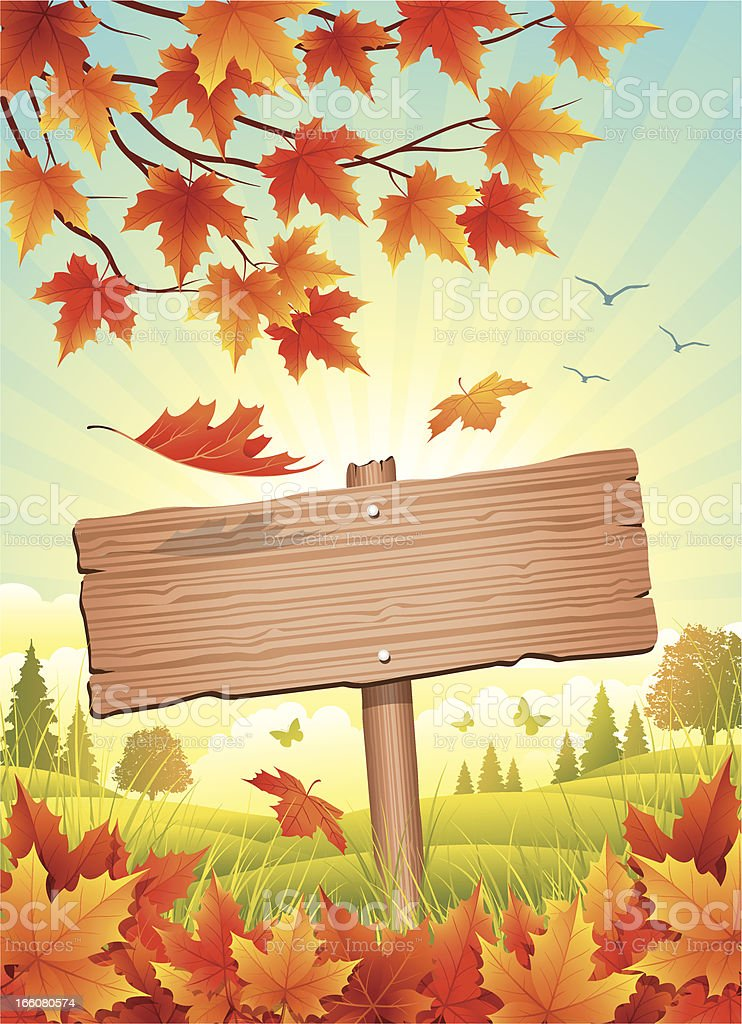 Autumn Wooden Sign royalty-free stock vector art