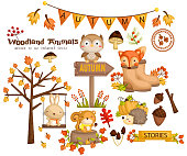 Autumn theme in woodland animal
