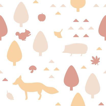 Autumn woodland themed seamless pattern