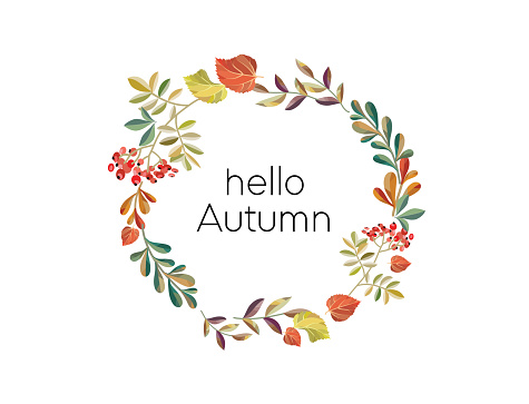 autumn wreath for design postcards and flyers