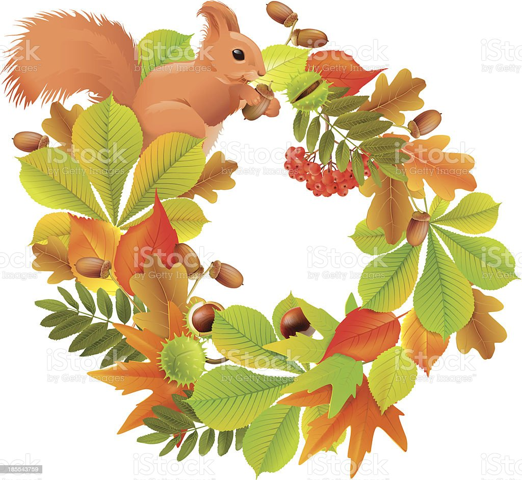Autumn wreath with squirrel royalty-free stock vector art