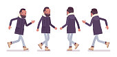 Parka man running. Young guy wearing warm windproof jacket with a hood, cold weather city male outfit. Vector flat style cartoon illustration isolated on white background, front and rear view