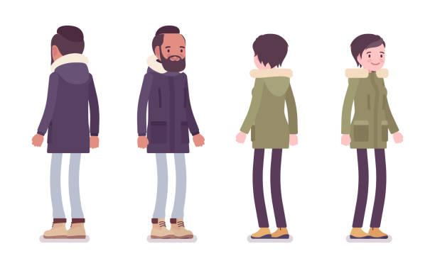 autumn_clothes_male+female_01 - parkas stock-grafiken, -clipart, -cartoons und -symbole