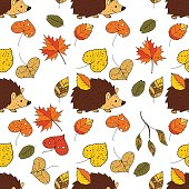 Cartoon doodle illustration. Seamless autumn vector pattern with hedgehog and autumn leaves.