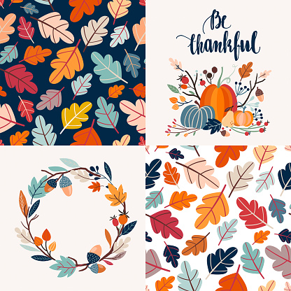 Autumnal cards collection and seamless patterns