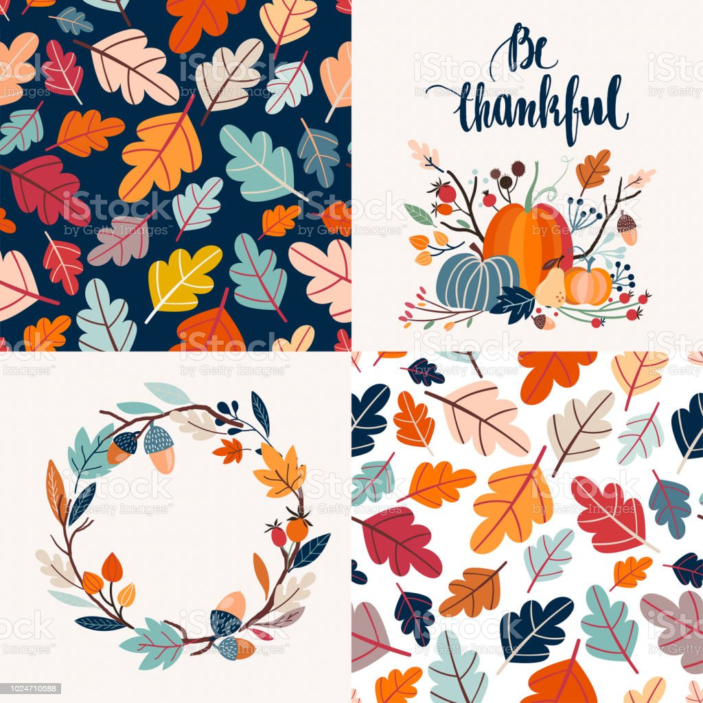 Autumnal cards collection and seamless patterns vector art illustration