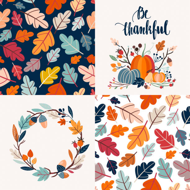 Autumnal cards collection and seamless patterns Autumnal collection of cards with decorative seamless patterns and hand lettering fall background stock illustrations