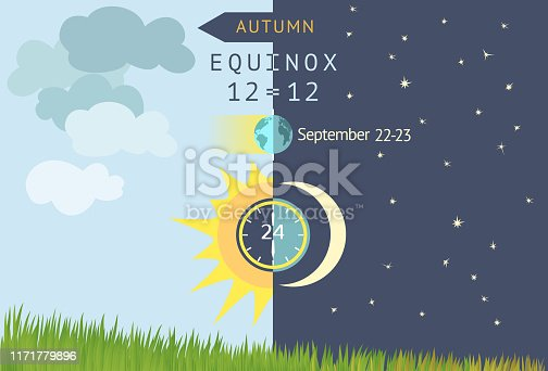 Astronomical beginning of autumn. Night becomes longer than Day in the northern hemisphere. Sun and Moon over grass field. Vector illustration.
