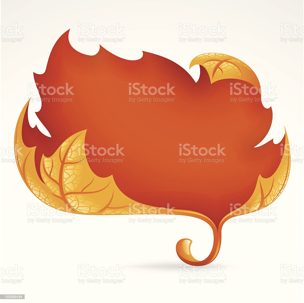 Autumnal frame in the shape of fallen leaf royalty-free stock vector art