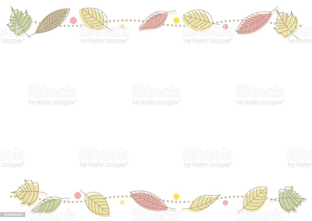 Autumnal leaf line frame vector art illustration