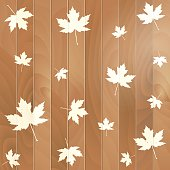 Autumnal Maple Leaf on a wooden background