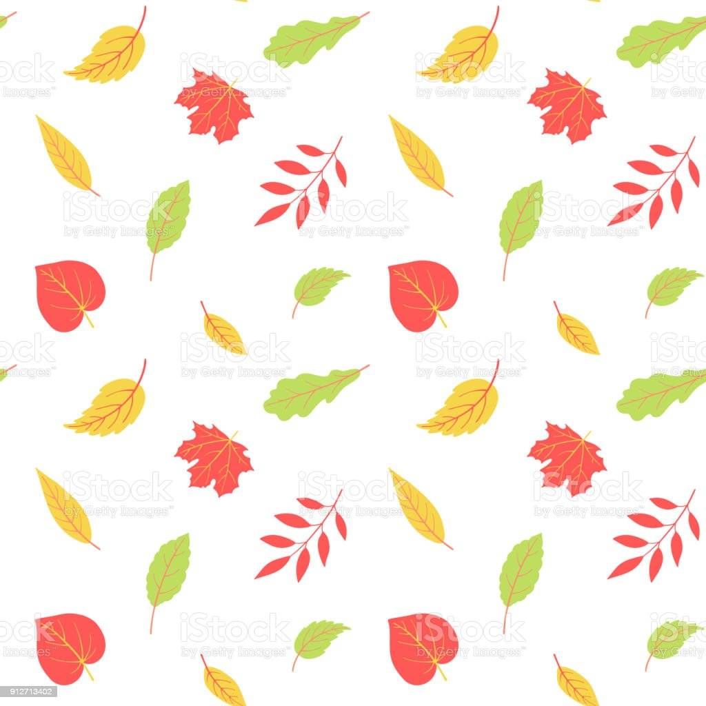 Autumnal seamless pattern with leaves. Vector harvest falling background vector art illustration