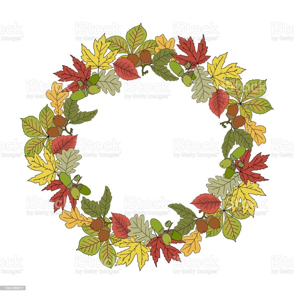 Herbstlicher Kranz Rahmen Mit Bunten Blätter Und Eicheln Hand ...