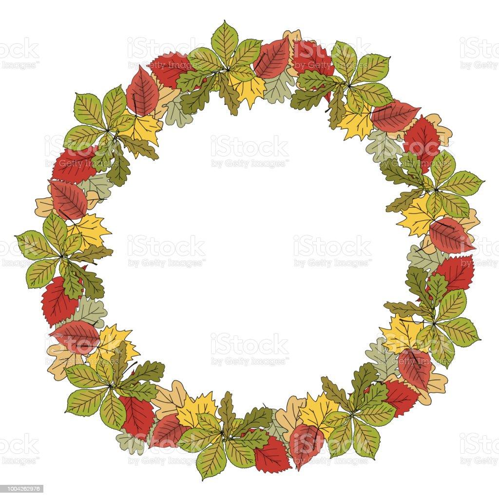 Herbstlicher Kranz Rahmen Mit Bunten Blättern Hand Gezeichnet ...