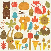 Autumn forest in vector set with cute forest animals, leaves, mushrooms and birds in cartoon style